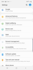 Samsung settings